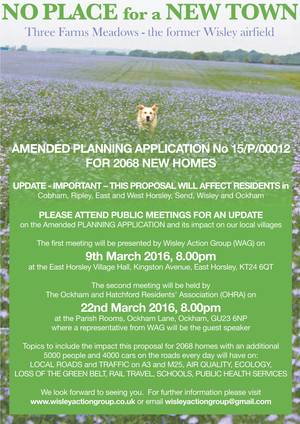 Wisley New Town public meetings Mar 2016