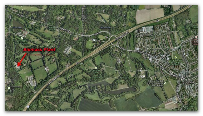 Map showing location of Redhill Rd Biomass Plant